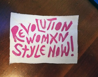 punk patch Revolution WOMXN Style Now!  Hand-Made Denim PATCH - Pink -  Punk rock, Resist, punk jacket