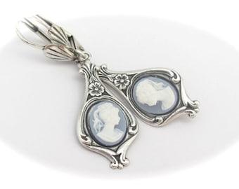 Blue Cameo Earrings, Bridal Earrings, Bridesmaid Jewelry, Wedgewood Blue Earrings, Art Nouveau Deco, Wedgewood Blue Cameo, Antiqued Silver