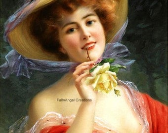 """Victorian Art Print """"Lady in Red"""""""