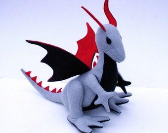 Wild Majestic Dragon Fantasy Plush ~ Eco Friendly, Handcrafted Stuffed Animal, Waldorf, Boys Gift, Grey Dragon Plushy, Dragon Stuffed Toy