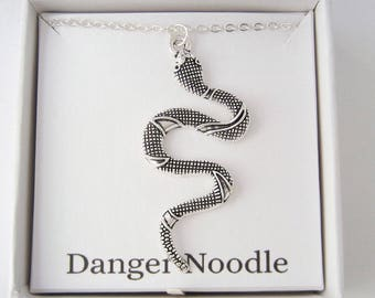 Large Snake Necklace - Danger Noodle Necklace - Funny Animal Gifts - Antique Silver Jewelry - Inspired by #theinternetnamesanimals
