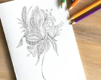 Floral mandala type design, printable coloring in card and coloring page
