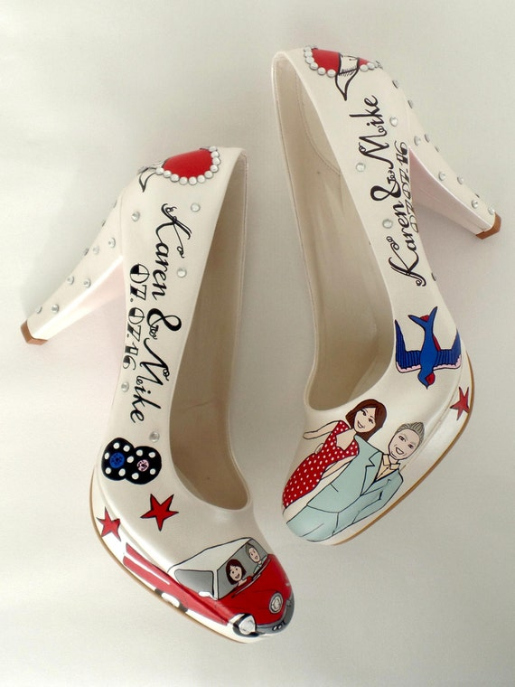 Bridal Wedding Rockabilly Hand Shoes Shoes wedding Custom Vintage painted wBIxFx4q