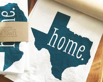 HOME Texas State Screen Printed Flour Sack Tea Towel - Made to Order