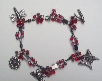 Charm Bracelet Red Beaded and  Garden-Themed Charm Bracelet Gift for Her