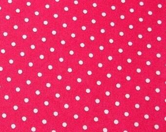 SALE Japanese Cotton Fabric - Disco Pink Polka Dots Fabric - Half Yard