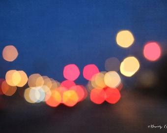 bokeh, blur, lights, night, blue, red, yellow, fine art photography