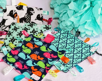 Sensory Lovey, Sensory Blanket, Ribbon Tags, Anchors, Skulls, Teal, Black, Baby Blanket,