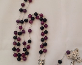 Purple Banded Agate Rosary