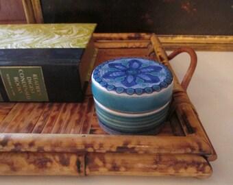 Pintado a Mano Pottery Box, Small Trinket Box, Boho Chic, Blue Pottery Box, Made in Spain, Pottery, Round Box, Ring Box