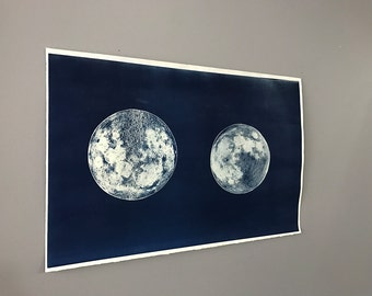 Dark Side of Moon and Visible side of Moon Cyanotype on Watercolor paper