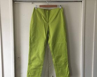 Shiny lime green high waisted pants