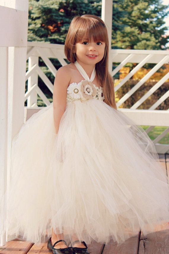 Country Couture Flower Girl Tutu Dress/ Shabby Chic Wedding/