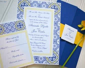 Talavera Wedding Invitations - Porcelain Tiles - Spanish - Portugal Wedding Stationery - Mexican Pottery - Mediterranean - Pocket fold