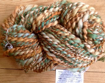 Wood Fairy - 3 ply handspun artyarn - mega skein of 10.5 oz & 250 yards - handpainted merino lambswool cotton viscose