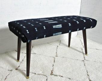 Indigo Mudcloth Bench / Mud Cloth Ottoman Global Textile Blue White African Modern Dining Bench Coffee Table Mid Century Bogolanfini Boho