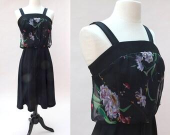 Vintage 70s Dress / Vintage 70s Black Floral Sundress