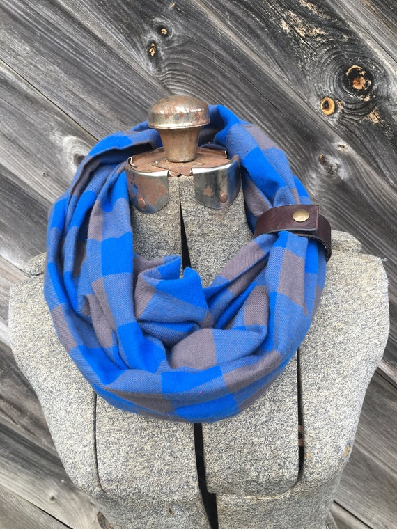 Blue and Gray Buffalo Plaid Check flannel eternity scarf with a brown leather cuff - soft, trendy