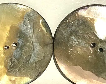 Antique Mother Of Pearl Nacre Buttons 2 Sided