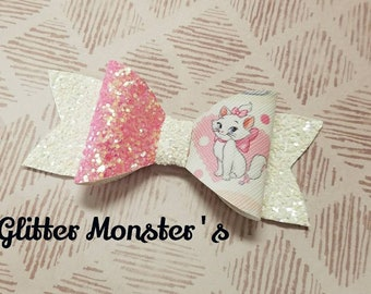Glitter Aristocats Inspired Bow, Marie Hair Bow, Aristocats Headband,Glitter Bow,Leather Bows, Pink Glitter Bow,Toddler Bows,Girls Hair Clip