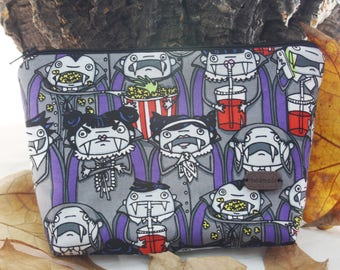 Vampires fabric  purse, make up bag , pouch  crafts  , handmade, ready to ship