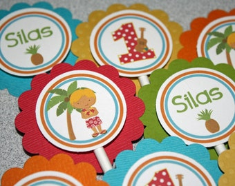 BOY Luau Cupcake Toppers / Luau Birthday Party / Hawaiian Cupcake Toppers / Hawaiian Birthday Party/Beach Cupcake Topper/Hula Cupcake Topper