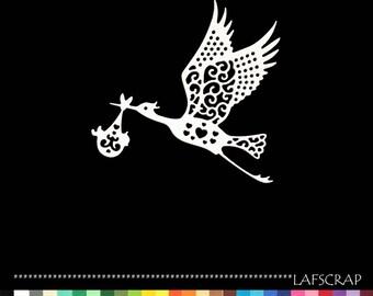 2 cut Stork baby birth embellishment Scrapbook die cut scrap scrapbooking decorative paper