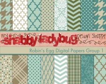 """Robin's Egg Digital Paper Collection Group 1: 16 Individual 12x12"""" 300 dpi digital scrapbook papers"""