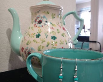 Turquoise Floral Teapot earrings