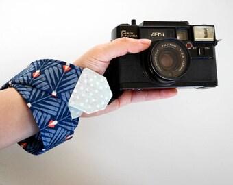 Blue camera strap, floral strap, organic cotton gift for photographer, Canon camera strap australia