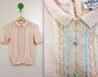 Vintage 1970s Alberoy Textured Peachy Pink Knit Blouse - S/M
