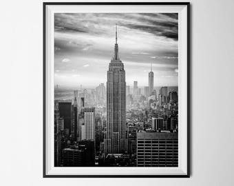 New York Print, NYC Print, Black & White Photo, City Print, Travel Printable, INSTANT DOWNLOAD, Modern Home Decor, Empire State Building