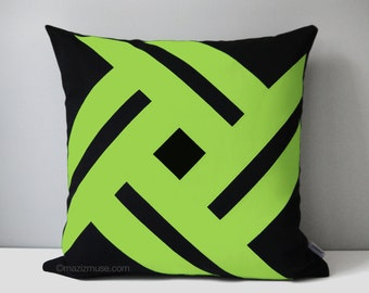 Black & Lime Green Outdoor Pillow Cover, Decorative Pillow Cover, Geometric Pillow Cover, Modern Sunbrella Cushion Cover, Mazizmuse