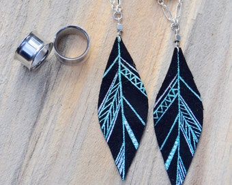 "Blue and Silver Leather Feather Ear Gauges | Dangle Plugs | Tunnels and Plugs | Gauges 2g, 0g, 00g, 7/16"", 1/2"", 9/16"". 5/8"" 3/4"", 7/8"" 1"""