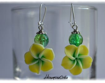 Yellow polymer clay Flower Earrings,