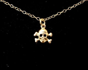 Teensy Tiny Gold Skull and Crossbones Necklace