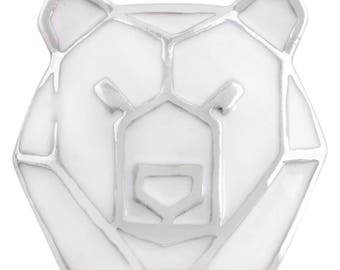 1 PC - 18MM Bear Geometric White Silver Charm for Snap Jewelry KC7497 CC3969