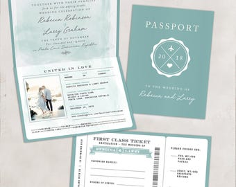 Watercolor Passport Boarding Pass Destination Wedding Invitation - Megan Elizabeth Designs
