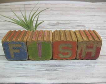 Vintage Wooden Blocks, Alphabet Blocks, Children's Blocks, Nursery Decor, FISH