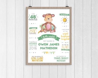 Little Monkey Birth Poster