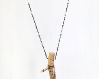 NATURAL BRANCH 'Y' || nature jewelry branch pendant necklace