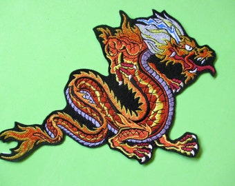 Ex. Large Embroidered Chinese Dragon Applique Patch, Jacket Patch, Biker Patch,  Martial Arts Patch, Fiery Dragon, Tattoo Dragon