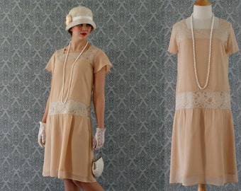 Dark beige high tea flapper dress with flutter sleeves, Downton Abbey dress, 1920s flapper dress, Great Gatsby dress, robe Charleston