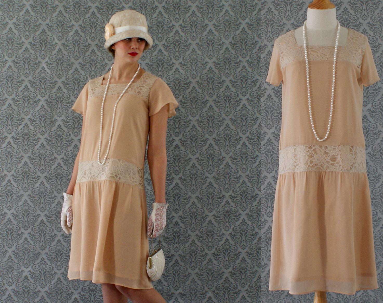 Dark beige high tea flapper dress with flutter sleeves