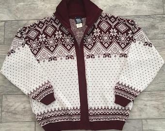 VTG JOHN BLAIR Nordic Burgundy White Snowflakes Zip Up Men's Knit Holiday Winter High Neck Sweater Size Large