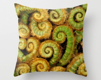 Ferns In The Woodland Grove Pillow Cover Woodland Scene Forest Dwellers Green Fern Pillow Unfurled Ferns A Fern In The Forest