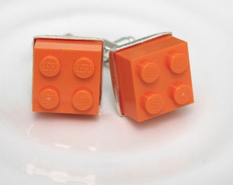 Tangerine Orange Lego Cufflinks - Silver plated - Valentine's Day Gift - Groomsmen Gift, Wedding accessory