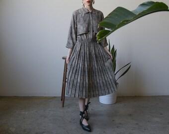 animal print trench style dress / pleated midi dress / US 10 / m / 2439d