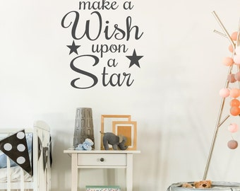 Make a wish upon a Star Wall Decal Baby Nursery Decal Vinyl Wall Decal Baby Nursery Decor Kids Bedroom Decal