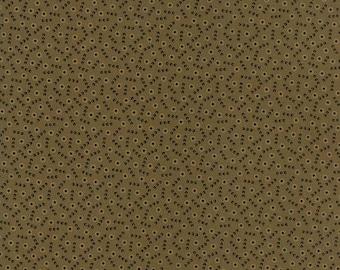 20 % off thru 5/31 NEW HOPE-tan circles on pine green 38035-16-by the half yard- Jo Morton Moda Civil War Reproduction cotton fabric